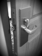 Closed door and door knob